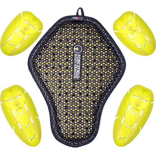 FORCEFIELD ISO 2 Einsätze mit K-Lite Rückenprotektor CE Race Grade Motorrad Stoßabsorbierende gepolsterte Protektoren Kit für Oberkörper Rückenschutz für Biker Jacke - 5er Set