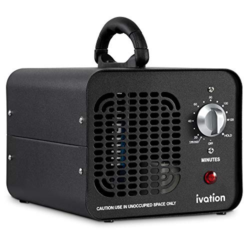Ivation 10,000 MG/Hour Ozone Generator | Compact Ozone Machine for Large Rooms Up to 5,000 Square Feet | Powerful Long-Lasting Ceramic Plates, Programmable Timer, Washable Pre-Filter & Carry Handle