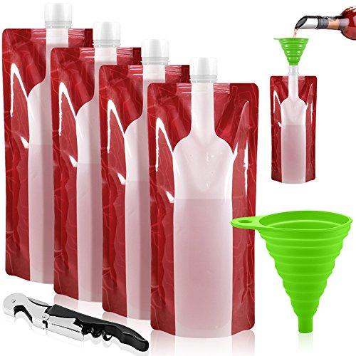 SENHAI Foldable Wine Bag, 750 ml, Portable Reusable Plastic Wine Bottle Pouch, 4 Pack Collapsible Liquid Leak Proof Flask Holder for Wine Liquor Beverages, Travel, Gift - Red