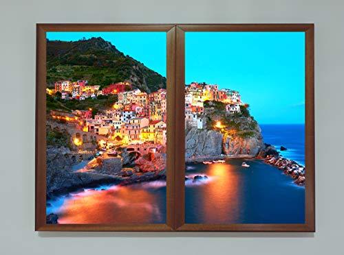 Achtergrondverlichting Vijf aarde ramen valse beelden Decoratieve verlichte methacrylaat, meerkleurig, 60 x 80