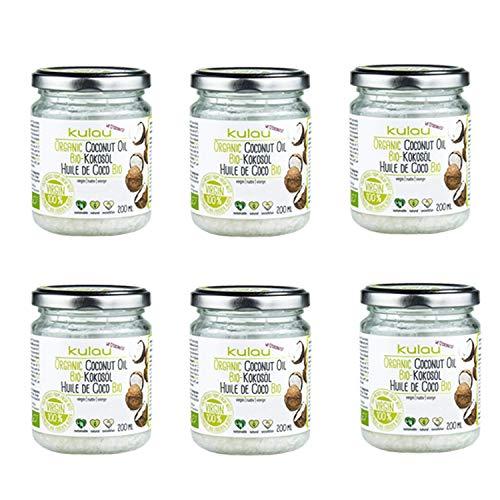 Kulau Bio Kokosöl für Haut & Haar, Kokosfett zum Kochen & Braten, Kokosnussöl nativ & kaltgepresst (6 x 200 ml)