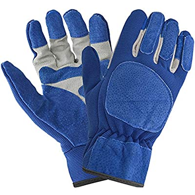 Vaupan Work Gloves, Thorn Proof Leather Gardening Gloves for Men and Women, Pigskin Scratch Resistance Gloves Good Grip for Wood Cutting/Fishing/Driving/Garden/Yard Working (Blue)