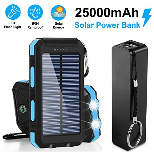 Bundle Pack Best Gift 25,000mAh Solar Charger & Power Bank, Portable Dual USB Battery Cargador External Pack Backup Phone Charger Outdoor Flashlight for Smartphone Tablet Camera Two Cord (Blue)