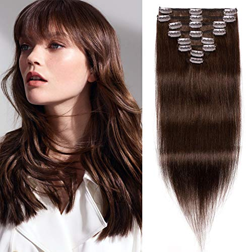 S-noilite Clip in Hair Extensions Real Human Hair 8pcs 18 Clips 90g Full Head Clip on Human Hair Extension Soft Straight For Women (16Inch, 4 Medium Brown)