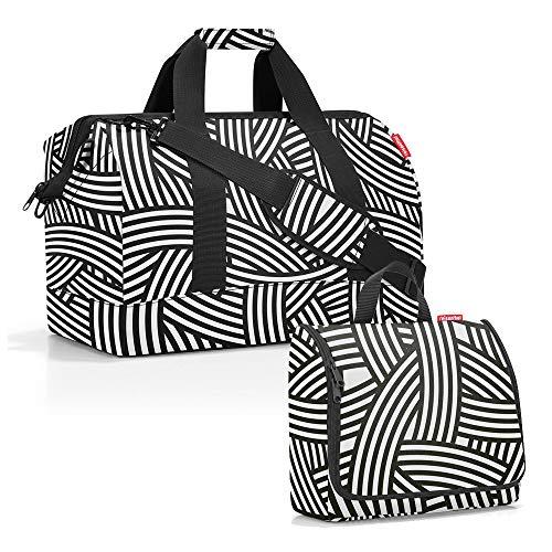 reisenthel Set sac de voyage Allrounder taille L avec trousse de toilette toiletbag taille XL - Noir - zébré, 30 L
