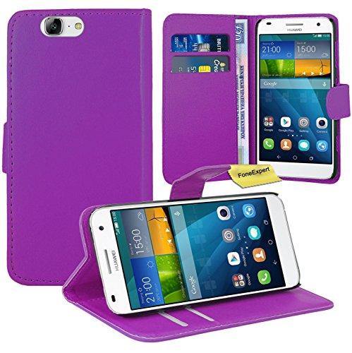 Huawei Ascend G7 Handy Tasche, FoneExpert® Wallet Hülle Flip Cover Hüllen Etui Ledertasche Lederhülle Premium Schutzhülle für Huawei Ascend G7 (Lila)