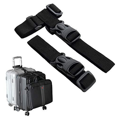Luggage Straps,Two Add a Bag Suitcase Strap Belt,Adjustable Travel Attachment Accessories for Connect Your Three Luggage Together - 2 Pack (Medium,Black)