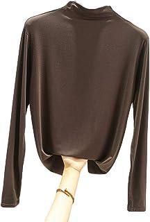 GUOCAI Women's Solid Tops Long Sleeve Slim Fit Mock Neck T-shirt Blouse