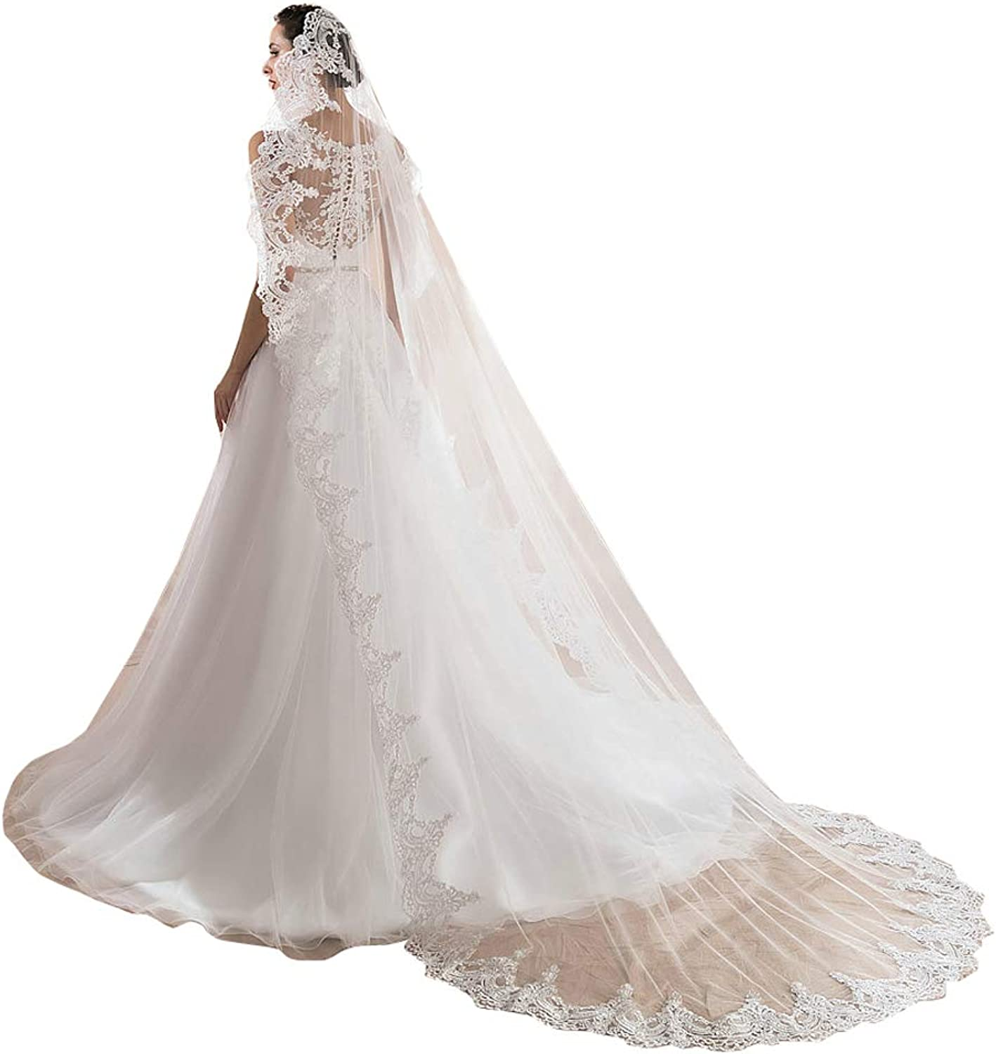 Kelaixiang Women White Ivory IT Lace Edge Cathedral Long Wedding Bridal Veil No Comb