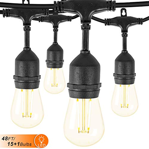 Remon LED Outdoor String Lights 48FT Hanging Lights Dimmable Waterproof String Light with 2W Vintage LED Bulbs for Backyard, Patio, Cafe, Wedding, Porch Party Decor