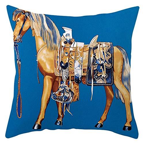 AtHomeShop 50 x 50 cm, fundas de cojín en poliéster con estampado de caballo, suave, cómodas, cuadradas, para sofá, dormitorio, oficina, coche, decoración, color azul y amarillo, estilo 24