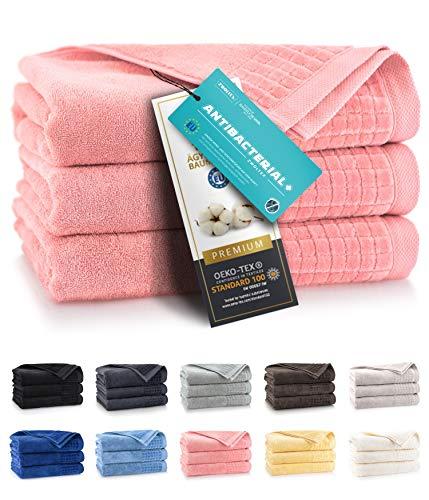 ZWOLTEX Himmlisch weiche Handtücher aus 100% Ägyptischer Baumwolle I Made IN EU I Gästehandtücher Ultra-Soft Duschtuch Badetuch - 3er Handtuch Set Corall Rose