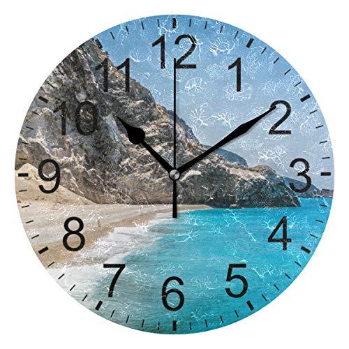 SENNSEE Wanduhr, Motiv: Strand, Griechenland Inseln, Meer und Natur, für Wohnzimmer, Schlafzimmer, Küche, batteriebetrieben, runde Uhr
