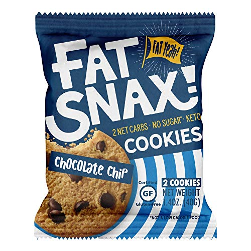 Fat Snax Cookies - Low Carb, Keto und Zuckerfrei (Chocolate Chip, 6-Pack (12 Cookies)) - Keto Freundlich & Glutenfreie Snacks