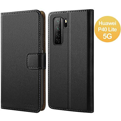 HOOMIL Handyhülle für Huawei P40 Lite 5G Hülle, Premium PU Leder Flip Case Schutzhülle für Huawei P40 Lite 5G Tasche, Schwarz