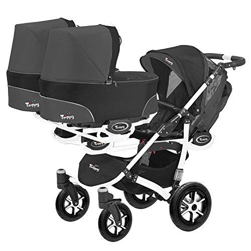 Kinderwagen für Zwillinge und älteres Kind 2 Gondeln 3 Sportsitze Trippy Kinderwagen 2in1 weißer Rahmen (schwarz graphit 04)