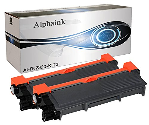 2 Toner Alphaink Compatibile con Brother TN-2320 versione da 2600 copie per stampanti Brother DCP-L2500 2520 2540 2560 2700 HL-L2300 2320 2321 2340DW 2360DW 2700DW MFC-L2701 2703 2720DW 2740DW