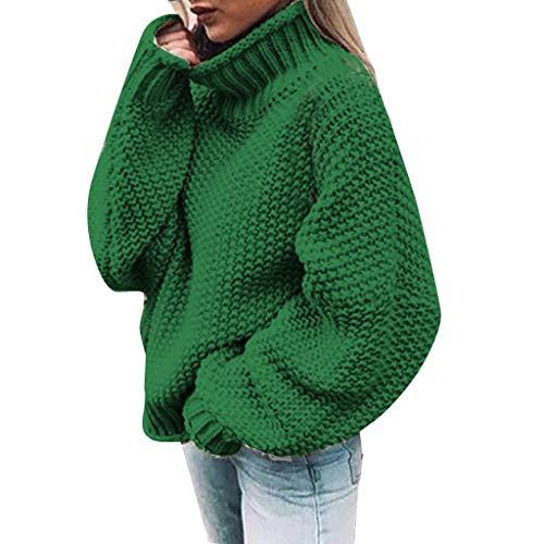 Kobay Oversize Femmes Décontractée Pull à Manches Longues en Vrac Col V Nouveau Mode Pull en Tricot de Couleur Unie