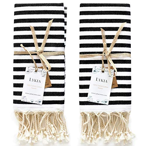 Lykia Turkish Hand Towel Set of 2 - Decorative Hand Towels for Bathroom and Kitchen - 100% Cotton 17x40 Inches - Great for Bath and Farmhouse Boho Style Housewarming Decor Gifts (Black and White)