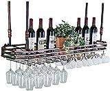 Equipo de vino de bar / botellero Vino Bastidores con soporte de metal montado techo de cristal que cuelgan Vino Titular colgantes Soporte for copas de vino de cristal del sostenedor del organizador e