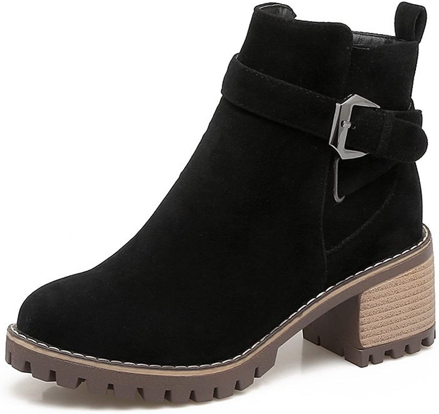 1TO9 Womens Boots Closed-Toe Zip Heeled Waterproof Rubber Warm Lining Solid Smooth Leather Outdoor Urethane Light-Weight Urethane Boots MNS02639
