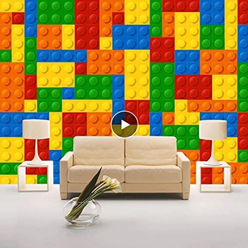 Papel tapiz fotográfico personalizado 3D Lego ladrillos habitación de los niños dormitorio tienda de juguetes decoración de fondo habitación de bebé papel tapiz de pared no tejido
