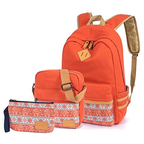 Leaper Elefant Rucksack Geldbörse für Damen Rucksack Set Schultertasche dunkelorange