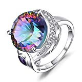JewelryPalace Naturale Arcobaleno Quarzo Anello Cocktail con Ametista Naturale in Argento ...