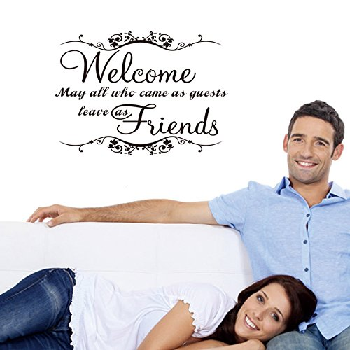 LUCKKYYWelcome may all who come as guests leave as friends Vinyl Wall Decal