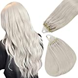 Easyouth Invisible Micro Beads Hair Extensions Real Human Hair Straight Micro Loop Hair Extensions White Blonde Hair Extensions Micro Ring Extension 16 Inch 50g 1g per Strand