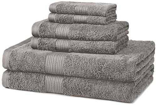 Amazon Basics 6-Piece Fade-Resistant Cotton Bath Towel Set - Grey