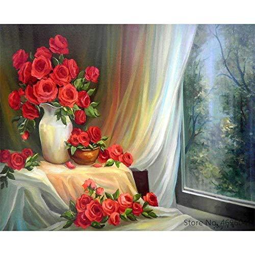 yaoxingfu Rahmenlos nach Werken Ausmalbilder Flowe Vase Dekorationen 40x60cm