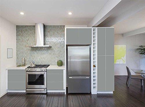 INDIGOS UG - Aufkleber für Küchenschränke 63x500cm - MATT - Folie aus hochwertigem PVC Tapeten Küche Klebefolie Möbel wasserfest für Schränke selbstklebende Folie Küchenfolie Dekofolie - Mittelgrau