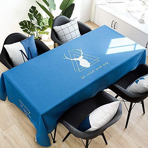 Telihome Waterproof Table Cloth Petite Nappe carrée fraîche Nappe imperméable, cerf Sauvage Libre, 100 × 140 cm