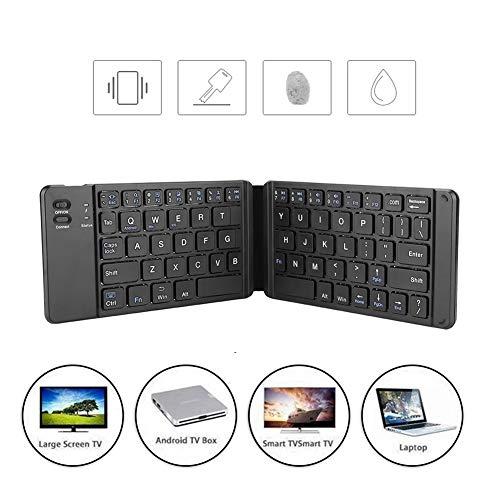 Opvouwbaar Bluetooth-toetsenbord, ultradun Bluetooth oplaadbaar draagbaar mini BT draadloos toetsenbord, stil ontwerp met toetsen, PU-leer, ontworpen voor frequente reizigers en typisten.(zwart)