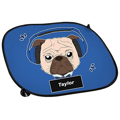 Auto-Sonnenschutz mit Namen Taylor und Mops-Motiv mit blauem Kopfhörer für Jungen   Auto-Blendschutz   Sonnenblende   Sichtschutz