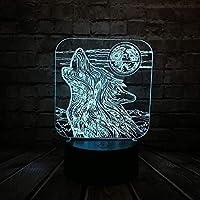 3DイリュージョンLedナイトライトノベルティランプアニマルハウルウルフランプLedUSBルミナリアスイッチタッチ新しいテーブルマルチカラー