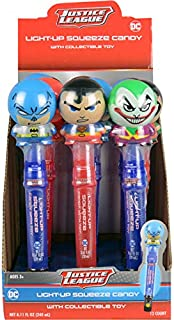 Koko's Justice League DC Comics Buildable Light-Up Candy Squeeze + Toy, 0.68 fl oz (20ml), (Pack of 12)