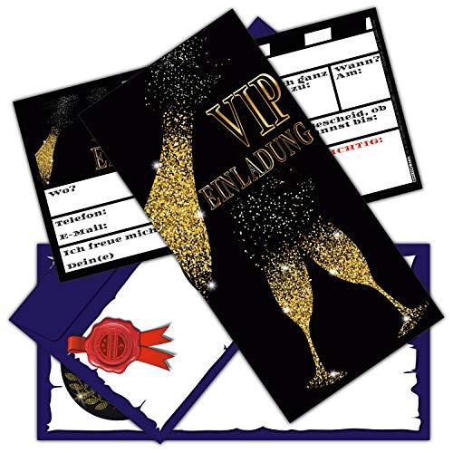 VIP EINLADUNG BUBBLES Set (12 Karten + 12 Umschläge) edle Einladungskarten für Silvester Party Geburtstag Jungen Mädchen Erwachsene von BREITENWERK