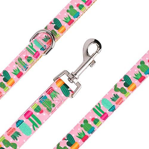 waaag Pet Supplies, (Cactus and Succulents) Cat Collar, Dog Collar, Small Dog Collar, Medium Dog Collar, Large Dog Collar (Pink Cactus Leash, L)