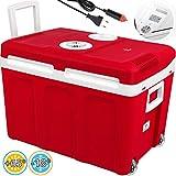 Kesser 40L Kühlbox mit Rollen | zum Warmhalten und Kühlen | Thermo-Elektrische Kühlbox | 12 Volt und 230 Volt| Mini-Kühlschrank | Thermobox für Auto| Boot und Camping | EEK A++ mit ECO Modus Rot