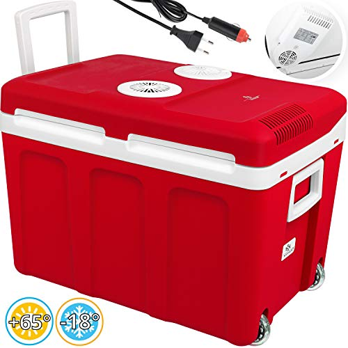 Kesser® 40L Kühlbox mit Rollen | zum Warmhalten und Kühlen | Thermo-Elektrische Kühlbox | 12 Volt und 230 Volt| Mini-Kühlschrank | Thermobox für Auto| Boot und Camping | EEK A++ mit ECO Modus Rot
