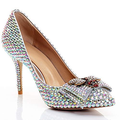 Zapatos de boda de piel con boca plana, para mujer, color con...