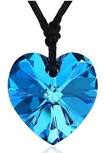 Cadena de Cuero Sueño Corazón Collar Colgante de Cristal para Mujer
