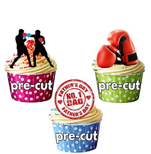 Día del Padre de boxeo para tartas–Decoración comestible stand-up Cup Cake Toppers...
