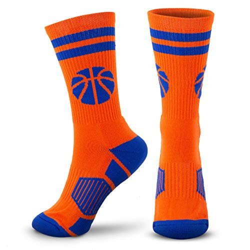 Basketball Woven Mid-Calf Socks   Classic Stripe & Ball   Orange & Blue