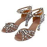 Nikou Zapatos Latinos 2 Colores Zapato de Baile 4 tamaños Zapatos de salón Opcionales para Mujeres(36-Tacón 7 Puntas Anudado Estampado Leopardo)