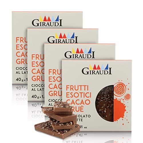 Giraudi Tableta de Chocolate con Leche, maracuyá y trocitos de Cacao, producción Artesanal - 40 gr (Paquete de 4 Piezas)