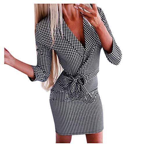 Longra Damen Elegant Wickelkleider Professional Plaid Tunika Kleid V-Ausschnitt Longblazer Minikleid Mit Gürtel Modisch Langarm Etuikleider