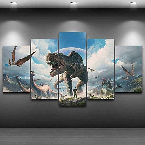 TOPRUN 5 Piezas Cuadro sobre Lienzo De Fotos Dinosaurios prehistóricos Lienzo Impresión Cuadros Decoracion Salon Grandes Cuadros para Dormitorios Modernos Mural Pared Listo para Colgar